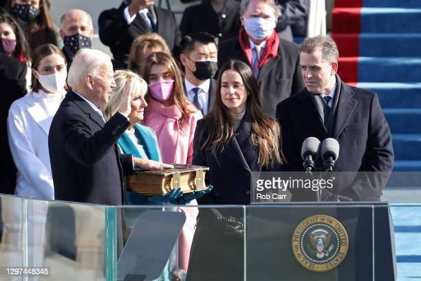 Joe Biden is sworn in as U.S. President during his inauguration on the West Front of the U.S. Capitol on January 20, 2021 in Washington, DC. During...
