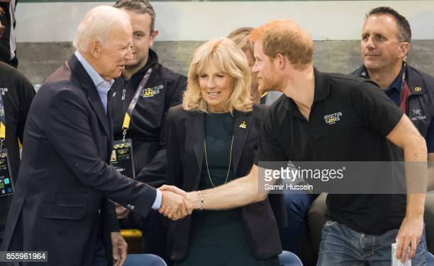 Joe Biden Jill Biden and Prince Harry attend the wheelchair basketball final on day 8 of the Invictus Games Toronto 2017 on September 30 2017 in...