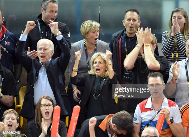 Joe Biden Jill Biden and Prince Harry attend the Wheelchair Basketball Finals on day 8 of the Invictus Games Toronto 2017 at Mattamy Athletic Centre...