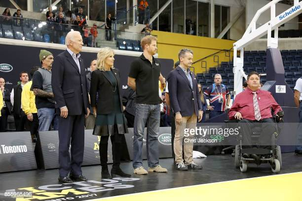 Joe Biden Jill Biden and Prince Harry congratulate the competitors at the Wheelchair Basketball Finals during the Invictus Games 2017 at Mattamy...