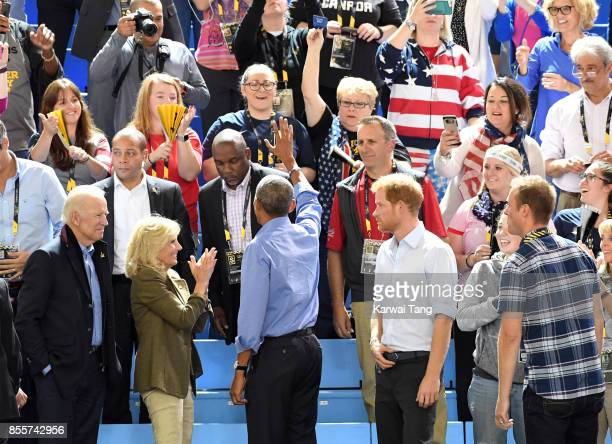 Joe Biden Jill Biden Barack Obama and Prince Harry attend the Basketball on day 7 of the Invictus Games Toronto 2017 at the Pan Am Sports Centre on...