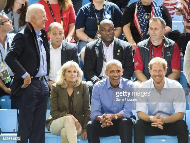 Joe Biden Jill Biden Barack Obama and Prince Harry watch the wheelchair basketball on day 7 of the Invictus Games Toronto 2017 on September 29 2017...
