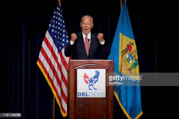 Joe Biden refrains from announcing a 2020 US Presidential Run during his keynote speech at the First State Democratic Dinner at the Rollins Center in...
