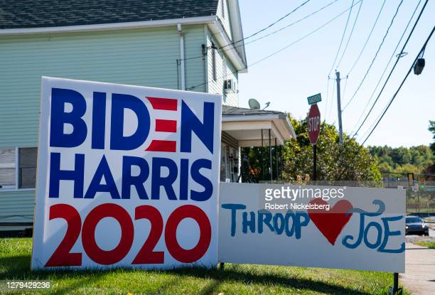 Joe Biden-Kamala Harris presidential campaign sign is staked on the front lawn of a residential house October 9, 2020 in Throop, Pennsylvania. The...