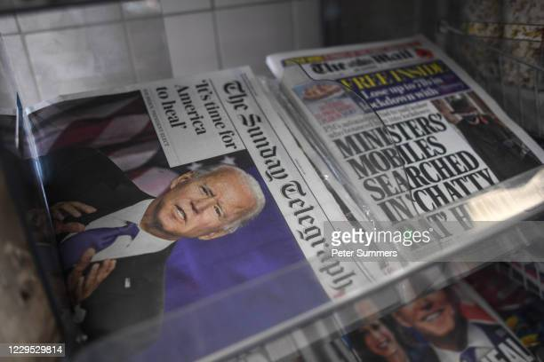 Joe Biden's projected US presidential election victory is seen on the front pages of British newspapers on November 8, 2020 in London, United...