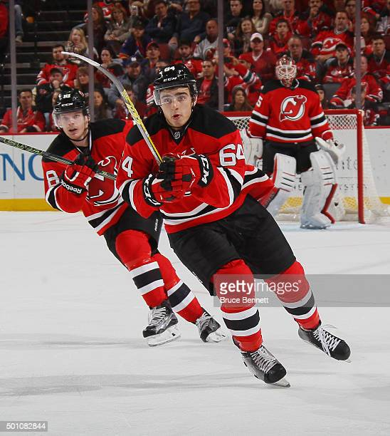 Joe Blandisi of the New Jersey Devils skates in his first NHL game against the Detroit Red Wings at the Prudential Center on December 11 2015 in...