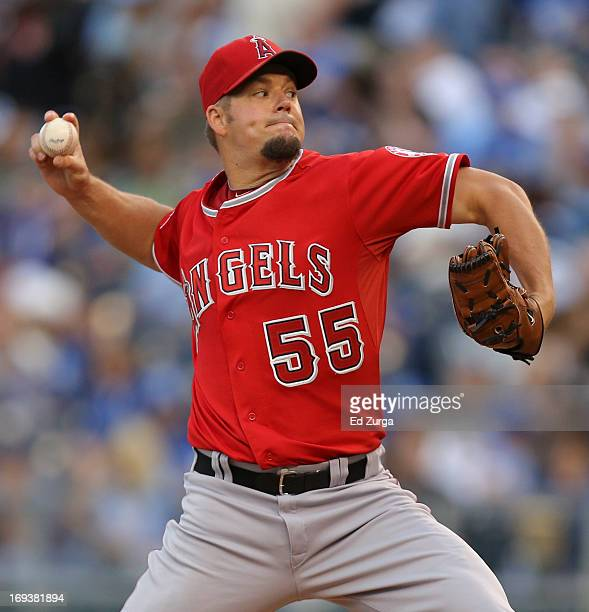 Joe Blanton of the Los Angeles Angels of Anaheim pitches against the Kansas City Royals in the first inning at Kauffman Stadium on April 23 2012 in...