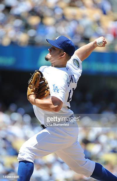 Joe Blanton of the Los Angeles Dodgers pitches against the Chicago Cubs at Dodger Stadium on August 5 2012 in Los Angeles California