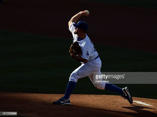 Joe Blanton of the Los Angeles Dodgers pitches against the San Diego Padres during the first inning at Dodger Stadium on September 3 2012 in Los...