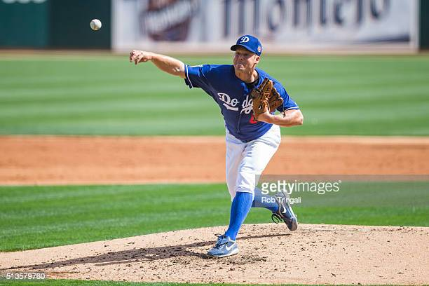 Joe Blanton of the Los Angeles Dodgers pitches during a spring training game against the Chicago White Sox at Camelback Ranch on March 3 2016 in...