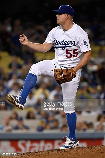 Joe Blanton of the Los Angeles Dodgers pitches in the sixth inning against the Colorado Rockies at Dodger Stadium on June 7 2016 in Los Angeles...