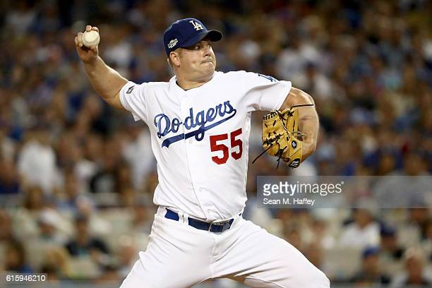 Joe Blanton of the Los Angeles Dodgers pitches in the sixth inning against the Chicago Cubs in game five of the National League Division Series at...