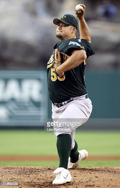 Joe Blanton of the Oakland Athletics pitches in the 1st inning against the Los Angeles Angels of Anaheim on August 1 2006 at Angel Stadium in Anaheim...