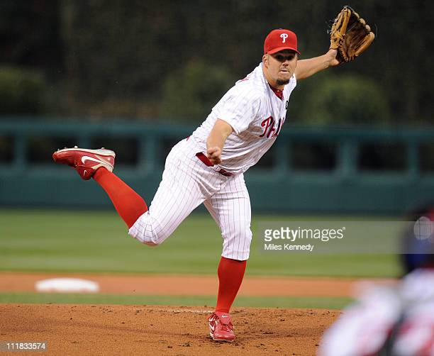 Joe Blanton of the Philadelphia Phillies pitches against the New York Mets in the first inning on April 6 2011 at Citizens Bank Park in Philadelphia...