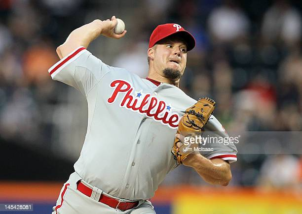 Joe Blanton of the Philadelphia Phillies pitches against the New York Mets at Citi Field on May 29 2012 in the Flushing neighborhood of the Queens...
