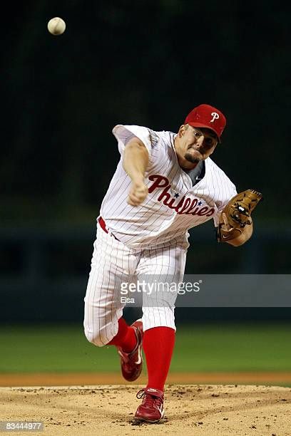 Joe Blanton of the Philadelphia Phillies pitches against the Tampa Bay Rays during game four of the 2008 MLB World Series on October 26 2008 at...
