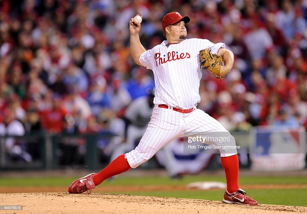 Joe Blanton #56 of the Philadelphia Phillies pitches against the Tampa Bay Rays during game four of the 2008 World Series at Citizens Bank Park on October 26, 2008 in Philadelphia, Pennsylvania.The Phillies defeated the Rays 10 to 2.