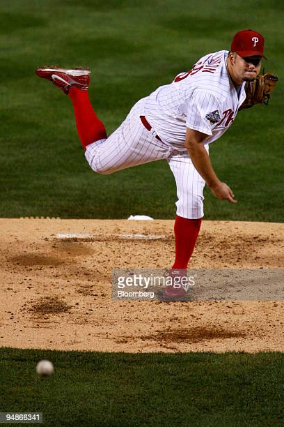 Joe Blanton of the Philadelphia Phillies pitches against the Tampa Bay Rays during game four of the Major League Baseball World Series at Citizens...