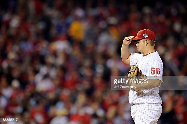 Joe Blanton of the Philadelphia Phillies readies to throw a pitch against the Tampa Bay Rays during game four of the 2008 MLB World Series on October...