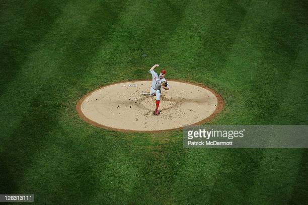 Joe Blanton of the Philadelphia Phillies throws a pitch against the New York Mets in the second inning at Citi Field on September 24 2011 in the...