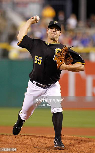 Joe Blanton of the Pittsburgh Pirates pitches in the second inning during the game against the Chicago Cubs at PNC Park on August 3 2015 in...