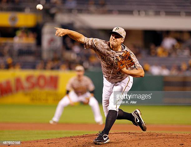 Joe Blanton of the Pittsburgh Pirates pitches in the seventh inning during the game against the Milwaukee Brewers at PNC Park on September 10 2015 in...