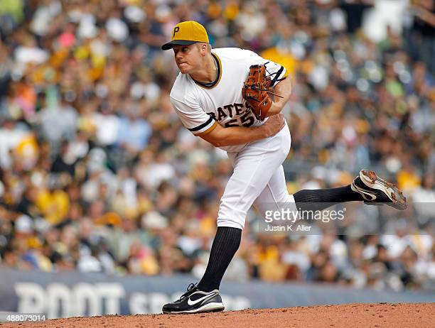 Joe Blanton of the Pittsburgh Pirates pitches in the third inning during the game against the Milwaukee Brewers at PNC Park on September 13 2015 in...