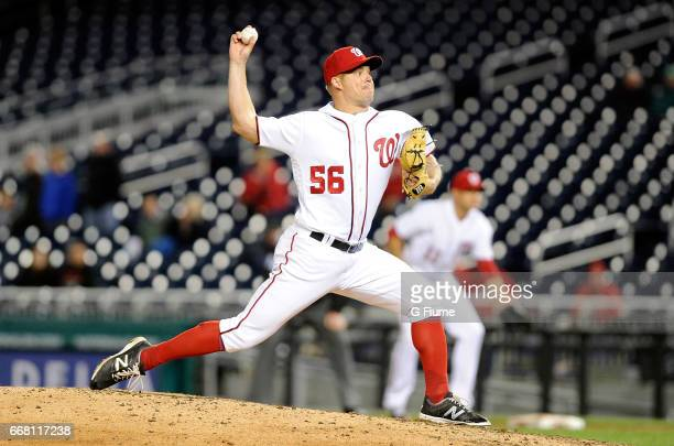 Joe Blanton of the Washington Nationals pitches against the Miami Marlins at Nationals Park on April 6 2017 in Washington DC