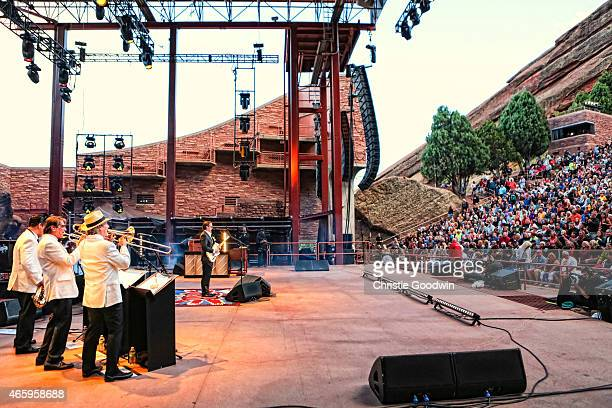 Joe Bonamassa performs on stage at Red Rocks Amphitheatre on August 31 2014 in Red Rocks Colorado United States