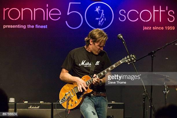 Joe Bonamassa performs on stage promoting Marshall Amplification at Ronnie Scott's on July 28 2009 in London England