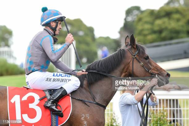 Joe Bowditch returns to the mounting yard aboard La Belle Jude after winning the Le Pine Funerals Handicap at Ladbrokes Park Hillside Racecourse on...