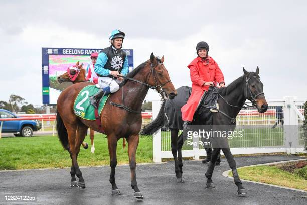 Joe Bowditch returns to the mounting yard on Realeza after winning the McGrath Estate Agents BM64 Handicap, at Geelong Racecourse on April 20, 2021...