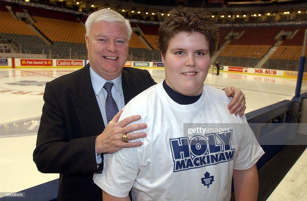 BOWEN - 01/27/04 - Joe Bowen and his son Sean, 13, are selling Holy Mackinaw t-shirts to raise money : News Photo