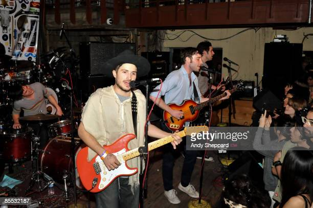 Joe Bradley Cole Alexander Jared Swilley and Ian St Pe of Black Lips perform on stage at Cedar St Courtyard as part of the SXSW 2009 Music Festival...