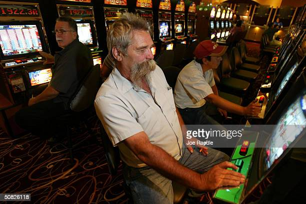 Joe Brant plays a slot machine May 11 2004 during the grand opening for the Seminole Hard Rock Hotel and Casino in Hollywood Florida South Florida's...
