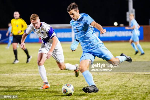 Joe Braun of Tufts Jumbos with the ball during the Division III Men's Soccer Championship held at UNCG Soccer Stadium on December 7, 2019 in...