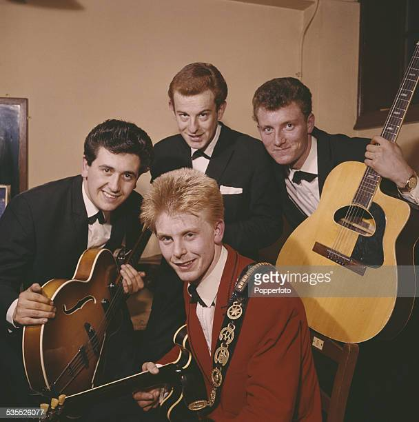 Joe Brown and his backing group the Bruvvers posed backstage in 1962 Clockwise from left bass guitarist Peter Oakman drummer Bobbie Graham rhythm...