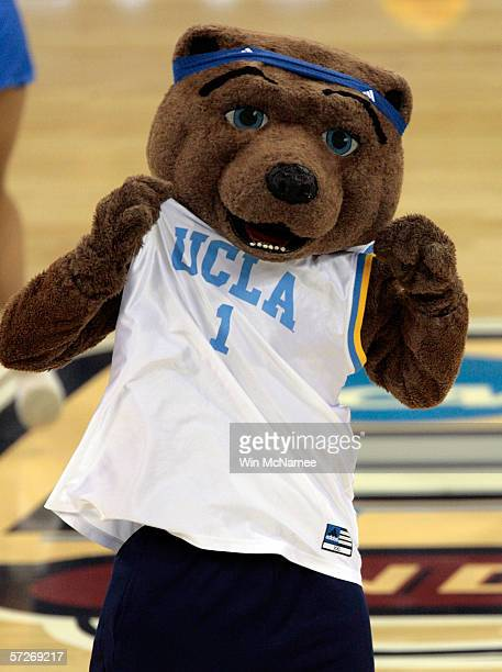 Joe Bruin, the UCLA Bruins mascot. Performs during a break in the game against the Florida Gators during the National Championship game of the NCAA...