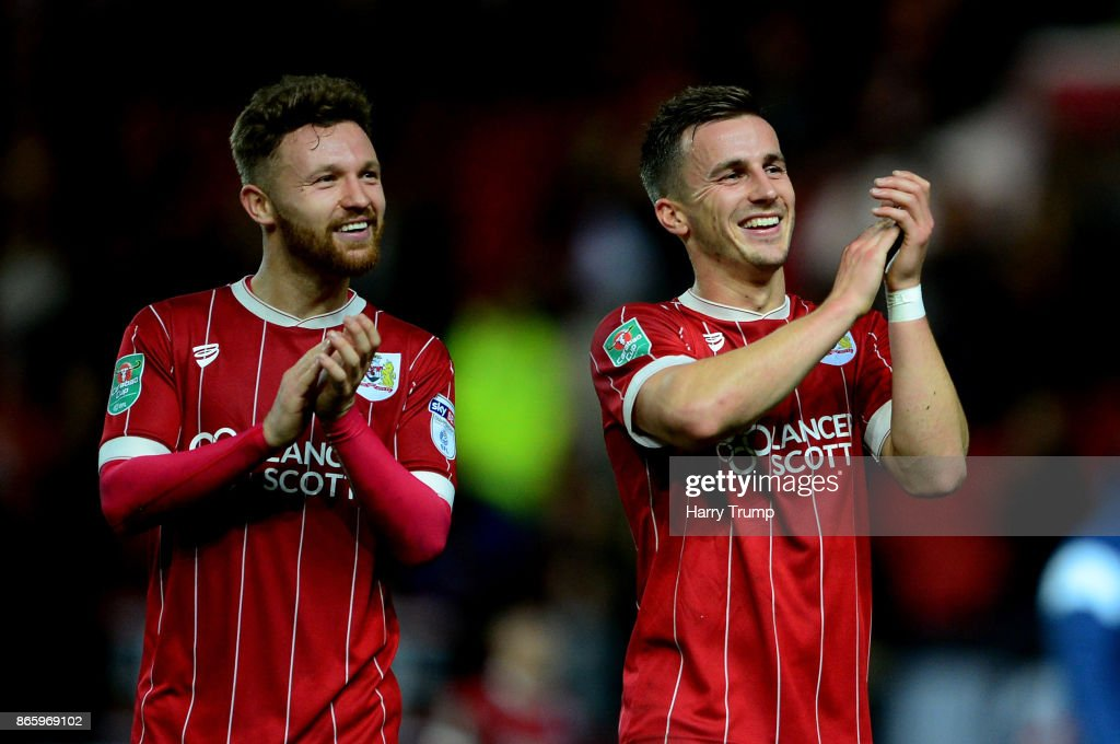 Joe Bryan and Matty Taylor of Bristol City celebrates their victory after the Caraboa Cup Fourth Round match between Bristol City and Crystal Palace at Ashton Gate on October 24, 2017 in Bristol, England.