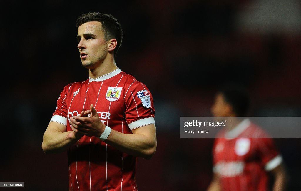 Joe Bryan of Bristol City applaudes the fans at the final whistle during the Sky Bet Championship match between Bristol City and Fulham at Ashton Gate on February 21, 2018 in Bristol, England.