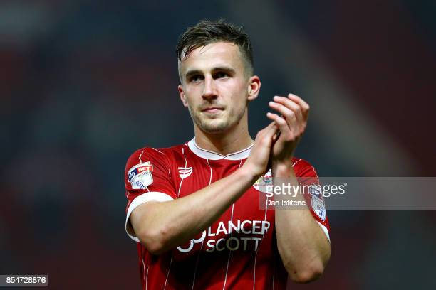 Joe Bryan of Bristol City applauds the fans after the Sky Bet Championship match between Bristol City and Bolton Wanderers at Ashton Gate on...