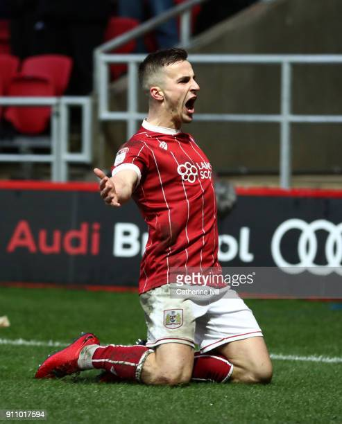 Joe Bryan of Bristol City celebrates after he scores his sides second goal during the Sky Bet Championship match between Bristol City and Queens Park...
