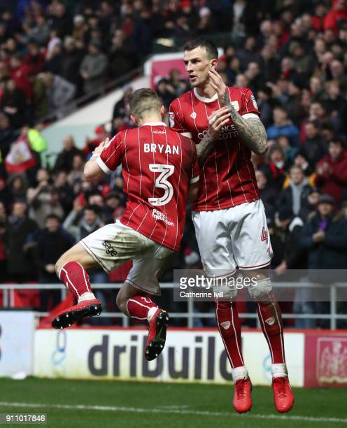 Joe Bryan of Bristol City celebrates after he scores his sides second goal with Aden Flint of Bristol City during the Sky Bet Championship match...
