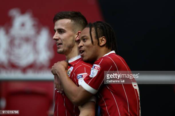 Joe Bryan of Bristol City celebrates after he scores his sides second goal with Bobby Reid of Bristol City during the Sky Bet Championship match...