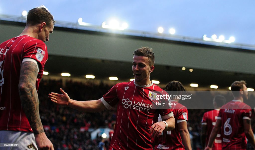 Joe Bryan of Bristol City(C) celebrates after scoring his sides second goal during the Sky Bet Championship match between Bristol City and Nottingham Forest at Ashton Gate on December 16, 2017 in Bristol, England.