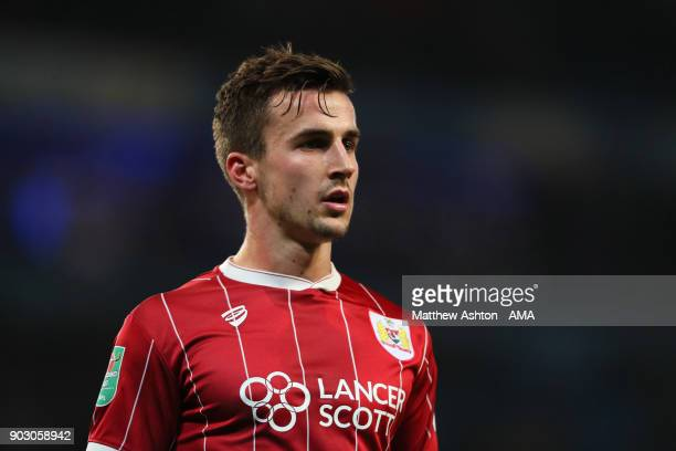 Joe Bryan of Bristol City looks on during the Carabao Cup SemiFinal first leg match between Manchester City and Bristol City at Etihad Stadium on...