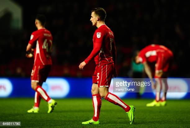 Joe Bryan of Bristol City reacts as Yanic Wildschut of Norwich City scores during the Sky Bet Championship match between Bristol City and Norwich...