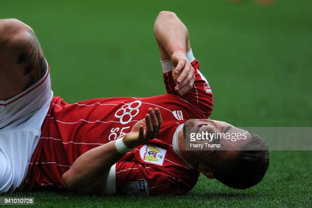Joe Bryan of Bristol City reacts during the Sky Bet Championship match between Bristol City and Brentford at Ashton Gate on April 2 2018 in Bristol...