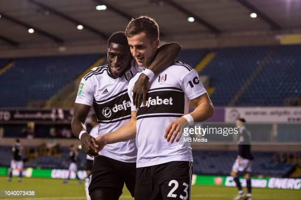 Joe Bryan of Fulham celebrates after scoring a goal during the Carabao Cup Third Round match between Millwall and Fulham at The Den on September 25...