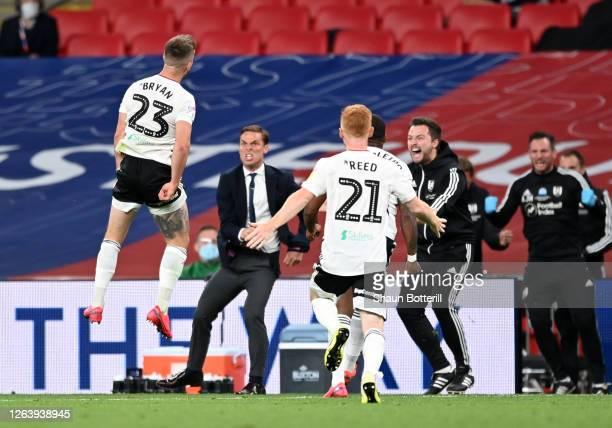 Joe Bryan of Fulham celebrates after scoring his sides first goal during the Sky Bet Championship Play Off Final match between Brentford and Fulham...